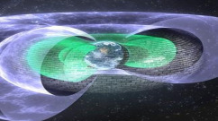 """Scientists have discovered an invisible shield roughly 7,200 miles above Earth that blocks so-called """"killer electrons,"""" which can fry satellites and degrade space systems during intense solar storms. Illustration by Andy Kale, University of Alberta."""